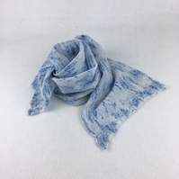 Blue wool and silk nuno felted lightweight scarf