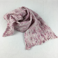 Pink and white, lightweight wool and silk nuno felted scarf