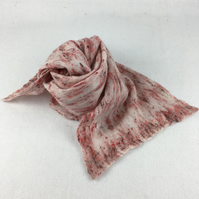 Wool and silk nuno felted lightweight scarf in red