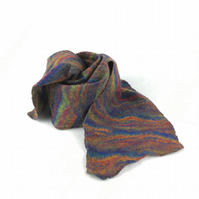 Merino wool felted scarf in rainbow colours