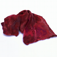 Red and pink merino wool felted scarf