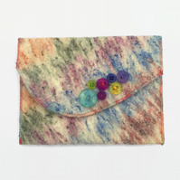Hand felted pouch multicoloured, travel wallet, clutch purse
