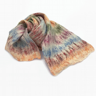 Wool and silk felted lightweight scarf, multicoloured stripes