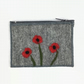 Grey felted coin purse with poppy design