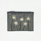 Felt coin purse in grey with daisy design