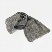 Grey merino wool felt scarf with multicoloured silk highlights