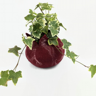 Burgundy red wet felted pod