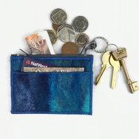 Blue felted coin purse
