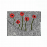 Hand felted handy pouch, travel wallet, clutch purse with poppy design