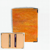 Felted RFID card wallet in an orange wool blend, credit cards, bus pass holder