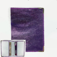 RFID card wallet hand felted in shades of purple, credit cards, bus pass holder