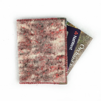 RFID card holder in red wool and silk tweed effect felt