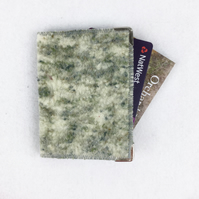 "Green ""tweed"" hand felted RFID card wallet"