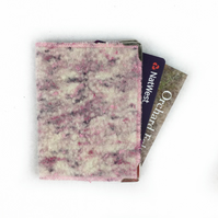 Pink tweed felt RFID bank card wallet