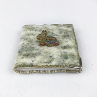 "Hand felted needle case in green ""tweed"" blend"