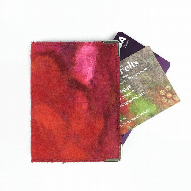 Card wallet, hand felted in a blend of red wool with RFID lining