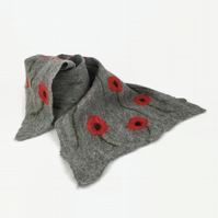 Grey merino wool poppy scarf, nuno felted