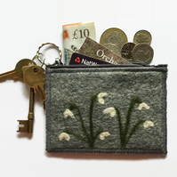 Grey felt coin purse with snowdrops, integral keyring and external pocket