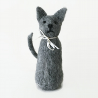 Needle felted grey stylised cat