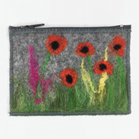 Grey felt purse with integral keyring and external pocket and poppy design