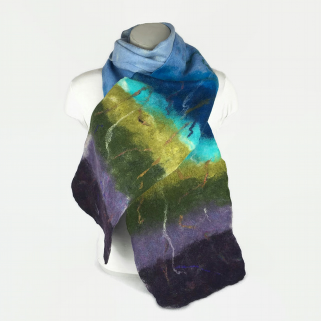 Felted wool scarf, multicoloured with silk embellishment