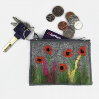 Grey felt coin pure with integral keyring, poppy design