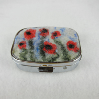 Rectangular pill box or trinket box with hand felted poppy design