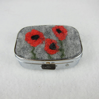 Poppy pill box, rectangular with hand felted decoration
