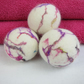 Set of three eco-friendly felt drier balls with silk decoration