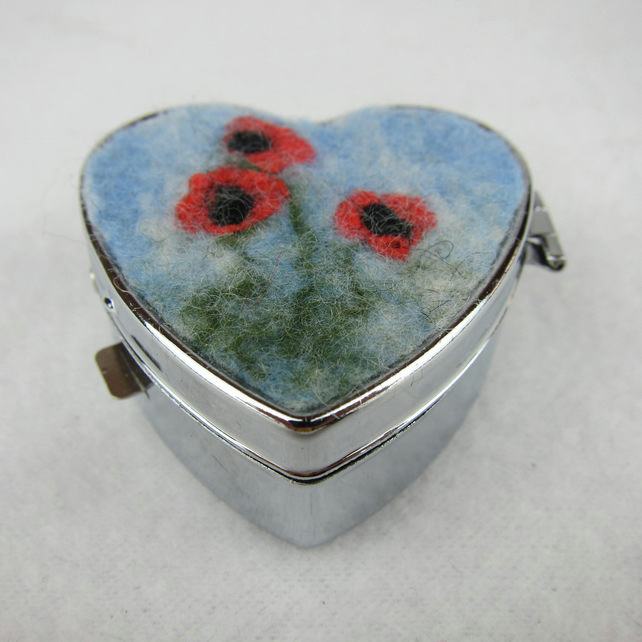 Heart shaped pill box or trinket box with poppy decoration