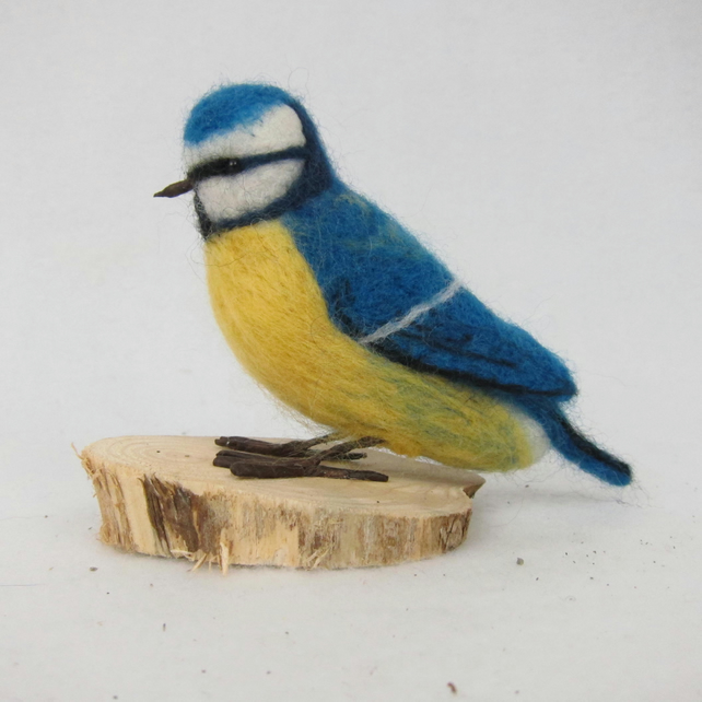 Blue tit model, needle felted, British garden birds