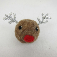 Needle felted reindeer bauble