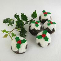 Needle felted christmas pudding decoration