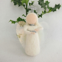 Needle felted Christmas angel,  hanging decoration