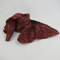Nuno felted scarf, merino wool on cotton with flax linen fibres