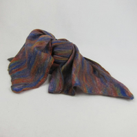 Rainbow  merino wool scarf nuno felted on purple cotton gauze