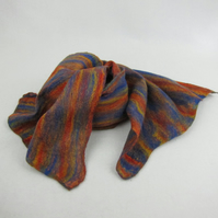 Nuno felted scarf, rainbow merino wool on red cotton gauze