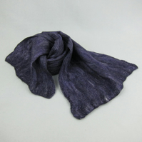 Nuno felted scarf, purple merino wool on cotton with silk fibres