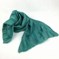 Nuno felted merino wool and cotton scarf shades of green