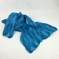 Nuno felted merino wool and cotton scarf shades of blue