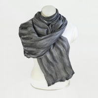 Grey nuno felted merino wool and cotton scarf
