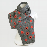 Lightweight grey felted merino wool scarf with silk poppies