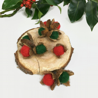 Christmas coloured needle felted beechnuts, home decoration, pack of 10