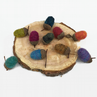 Brightly coloured needle felted acorns, home decoration,pack of 10