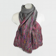 Grey merino wool and multicoloured silk felted scarf
