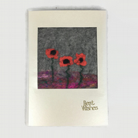 Poppy greeting card, hand felted panel
