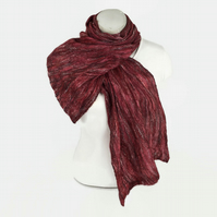 Nuno felted scarf, merino wool on silk with flax linen fibres