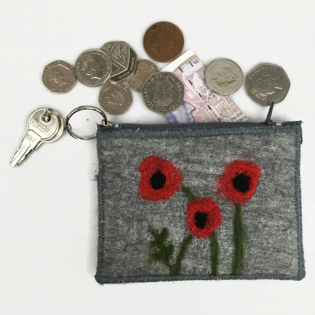 Poppy purse, grey with poppy design , integral keyring and external pocket