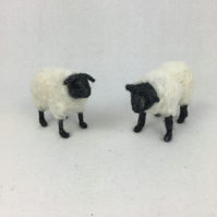 Primitive needle felted sheep model