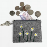 Grey felt coin purse with daisy design , integral keyring and external pocket